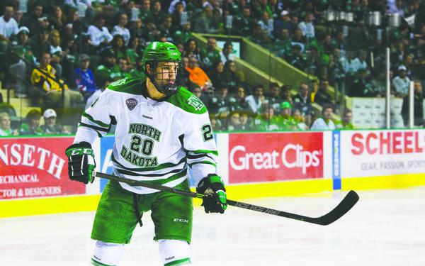 Defenseman Gage Ausmus is one of two men's hockey players graduating this semester. Nick Nelson/ Dakota Student