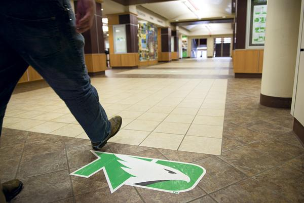 During spring break, UND increased Fighting Hawks logo presence on-campus with graphics inside the Memorial Union and elsewhere. Nick Nelson/ Dakota Student