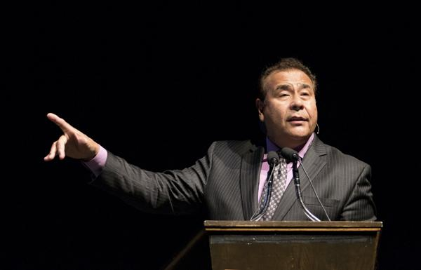 John Quiñones, host of television show 'What Would You Do?,' spoke Monday night at the Chester Fritz Auditorium as part of a Delta Gamma Foundation event. Daniel Yun/ Dakota Student