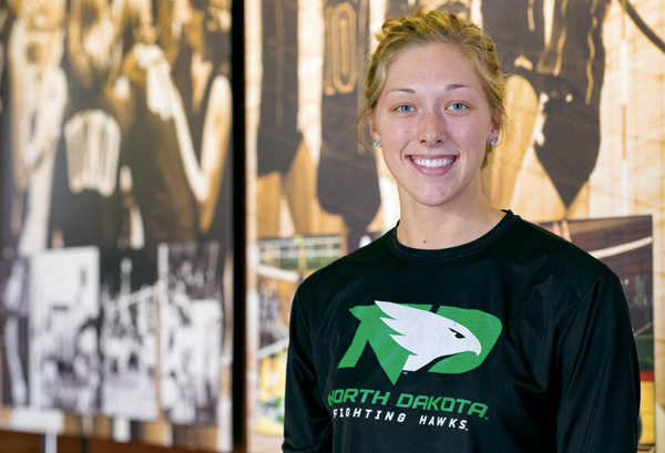 Faith Dooley, a junior middle hitter for the UND volleyball team, recently announced that she will be also playing for the women's basketball team next season.
