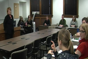 Heitkamp speaks at university
