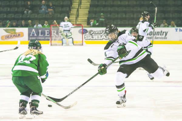 Women's hockey splits series with Huskies