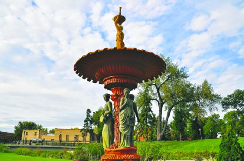 Adelphi fountain, a symbol for UND