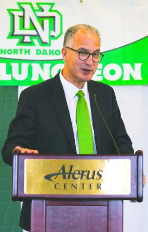 President Mark Kennedy speaks at the ND Champions Club fan luncheon at Alerus Center on Friday, September 16, 2016. Photo by Nick Nelson/ The Dakota Student