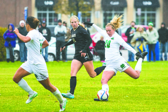 UND sophomore Katie Moller plants her foot in preparation for a big kick during a match last season against Idaho. Photo by Nick Nelson/ The Dakota Student