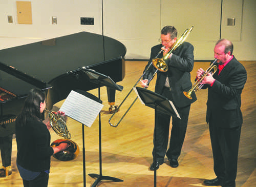 Miaoqian Liu (left), Dr. Ronnie Ingle (center) and Dr. Joel Pugh (right) perform at the Josephine Campbell Recital Hall during the UND Music Faculty and Student showcase on Friday, September 16, 2016. Photo by Daniel Yun/ The Dakota Student