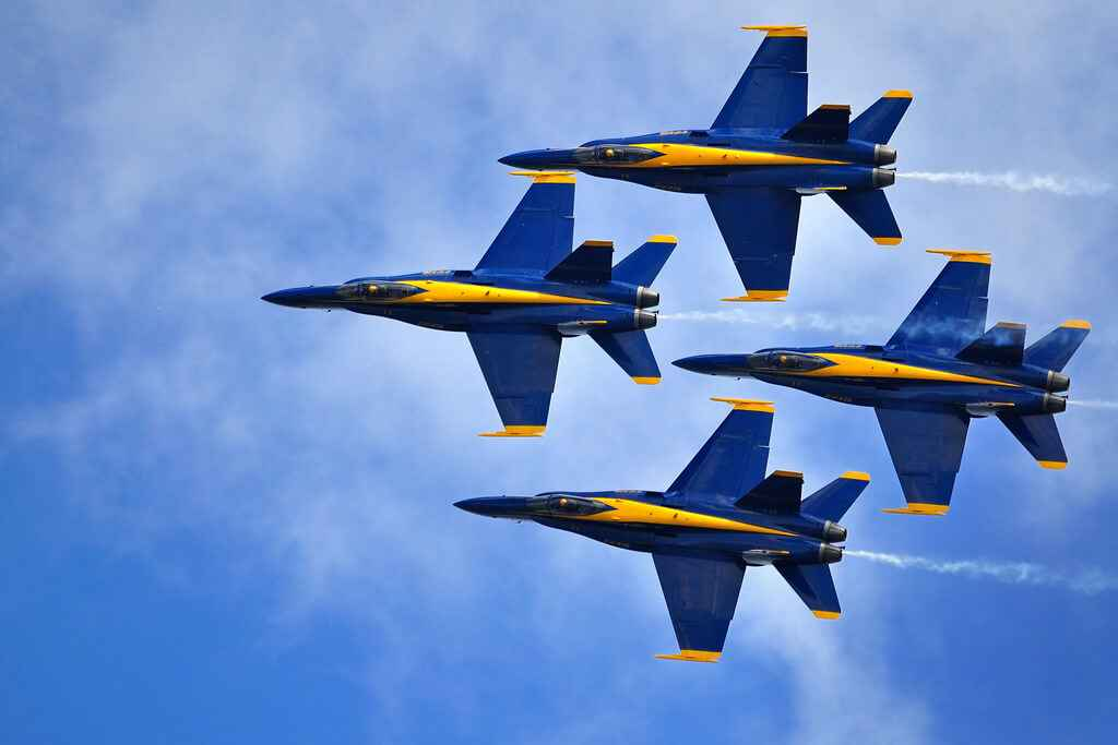 F-18 Hornets like the Blue Angels have excellent maneuverability and are commonly seen doing aerobatics during air shows. Photo courtesy of librestock.com