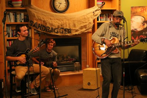 Joe Kalka (left), Alexander Formes (center) and Will Beaton (right) perform at Archives coffee house on Friday, September 30th, 2016