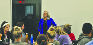 Robyn Ochs, a bisexual activist and writer, speaks to UND students during an event at Wilkerson Commons last Wednesday as part of National Coming Out Week.