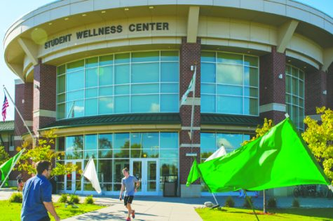 Students enter and exit the Wellness Center on Tuesday, September 27, 2016