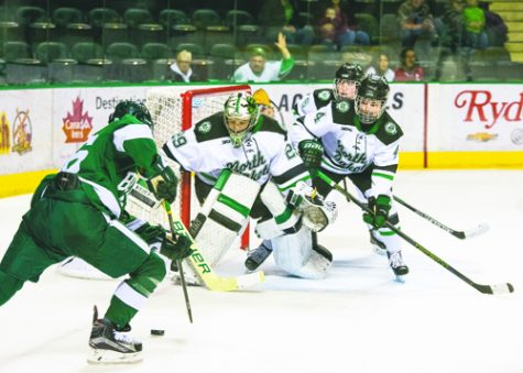 Lexie Shaw protects the goal against Bemidji State University at the Ralph Engelstad Arena on October 18, 2015.