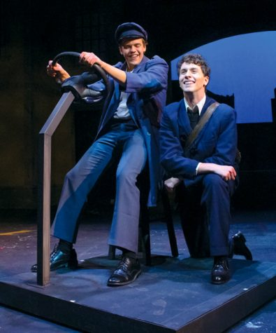 """UND theatre arts students Joe Picardi (left) and Tyler Folkedahl (right) perform as Robbie Fay and Alfie Byrne respectively in """"A Man of No Importance"""" at the Burtness Theatre."""