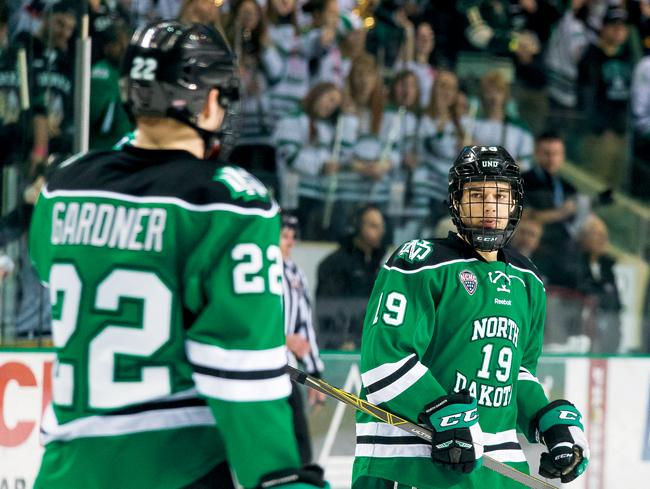 Sophomore forward Shane Gersich (right) scored four goals during this weekend's series against St. Cloud State University, including his first collegiate hat trick.