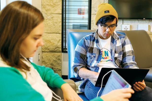 Krya Bostad (left) and Parker Combs (right) study Tuesday at Wilkerson Commons.