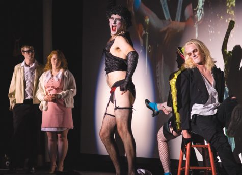 Patrick Pearson as Dr. Frank-N-Furter leads the Halloween performance of 'Rocky Horror Picture Show' Monday at the Empire Arts Center.