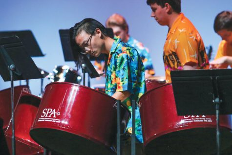 UND Steel Pan band members perform Monday, Nov. 7 at the Chester Fritz Auditorium.