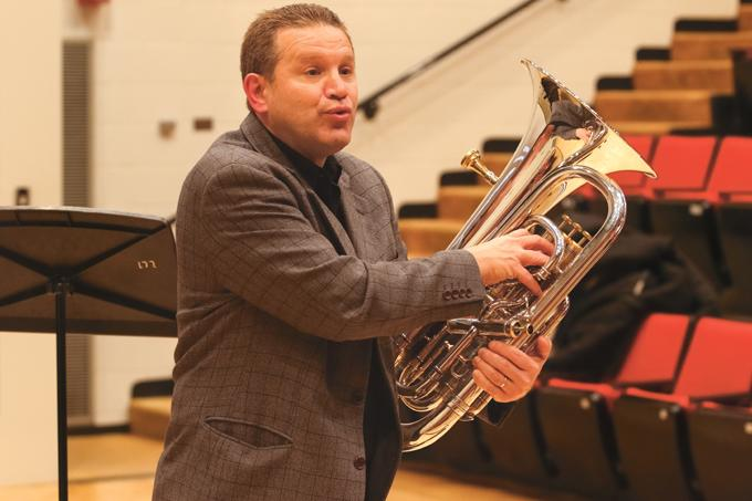 Joel+Pugh%2C+UND+low+brass+instructor%2C+speaks+at+a+euphonium+guest+lecture+entitled+%22The+Evolution+of+the+Salvation+Army+Euphonium+Solo+with+Brass+Band+Accompanient%22+at+Hughes+Fine+Arts+Center+Tuesday+evening.
