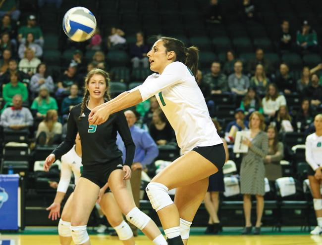 Tamara Merseli prepares to forearm pass against Idaho State University Friday night at the Betty Engelstad Sioux Center.