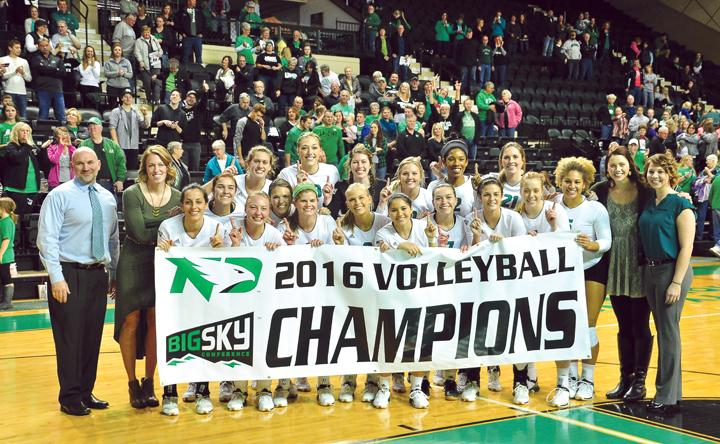 After+defeating+Northern+Colorado+University+this+past+Saturday%2C+the+UND+volleyball+team+clinched+the+2016+Big+Sky+conference+chamionship.