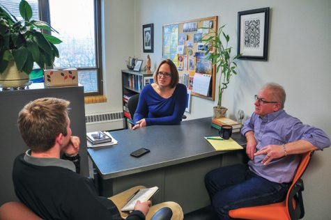 Associate professor Melissa Gjellstad (center) and Steven Finney (right) teach Norwegian language courses within the Languages department at UND.