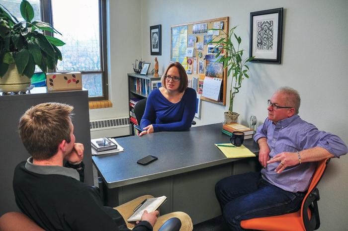 Associate professor Melissa Gjellstad (center) and Steven Finney (right) teach Norwegian language courses within the Languages department at UND.