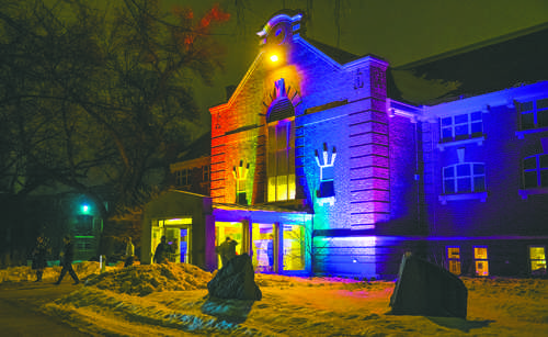 Colorful lights illuminate the Museum of Art. The theme for this years NDMOA auction was rainbow gardens Nick Nelson/ Dakota Student