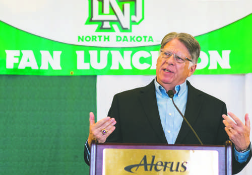 UND athletic director Brian Faison speaks at a fan luncheon on Sept. 16 at the Alerus Center. Nick Nelson/ Dakota Student
