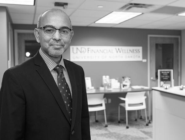Shafiq Khan is the program coordinator for Financial Wellness at UND, which offers counseling to students on finances, financial aid, personal spending plans and student loan repayment. Nick Nelson/ Dakota Student