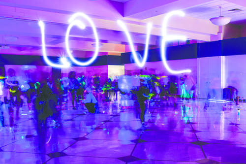 Students dance at the Glow-in-the-Dark Zumba event on Thursday evening as part of Love Your Body week. Daniel Yun/ Dakota Student