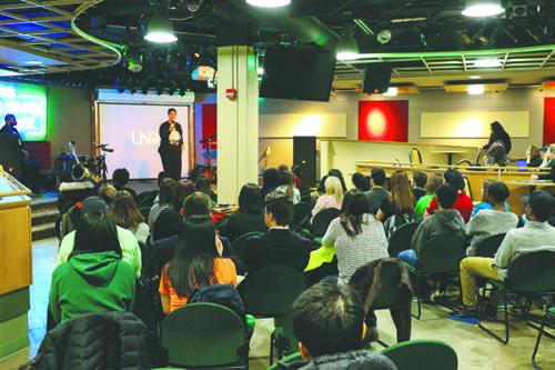 Amina Chinnell-Mateen speaks during the Black Student Association culture night last Thursday. Daniel Yun/ Dakota Student