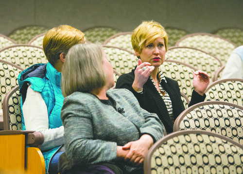 Tami Carmichael (right) speaks during a question an answer session last year. File Photo/ Dakota Student