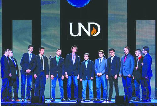 The Varsity Gentlemen perform Saturday night at the annual Feast of Nations event held at the Alerus Center. Daniel Yun / Dakota Student