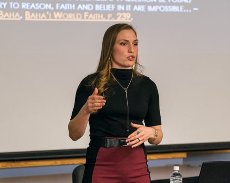 Cheyenne Defender presents a talk on the Baha'i faith during Interfaith week at the River Valley room in the Memorial Union.