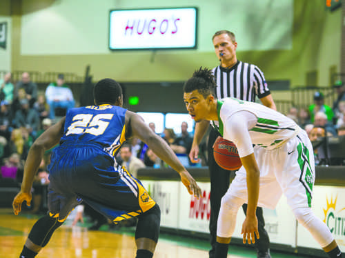 UND guard Geno Crandall looks for an opening against Northern Colorado last season at the Betty Engelstad Sioux Center. Nick Nelson/ Dakota Student