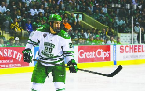 Defenseman Gage Ausmus is one of two men's hockey players graduating this semester. Nick Nelson/ Dakota Student
