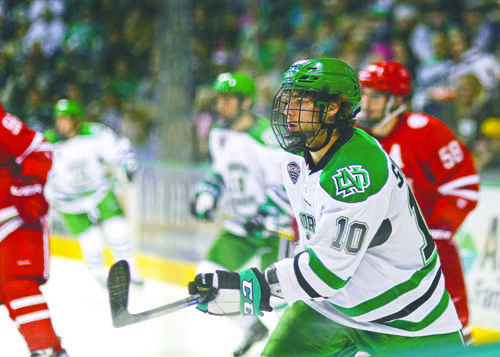 Forward Johnny Simonson and the rest of the UND men's hockey team will face Miami University in a road series this weekend. Nick Nelson/ Dakota Student