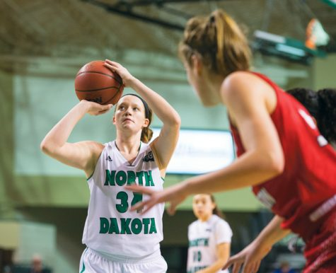 Lexi Klabo takes a free throw against Eastern Washington University at the Betty Engelstad Sioux Center last season.