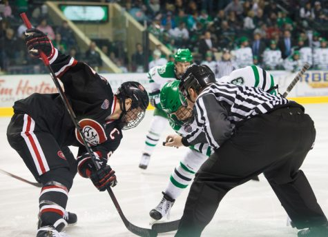 Defender Tucker Poolman faces off against St. Cloud State last season at the Ralph Engelstad Arena.