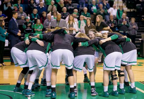 The UND women's basketball team huddles prior to defeating Northern Colorado 75-68 at the Betty Engelstad Arena on Feb. 25, 2017. Nick Nelson/ Dakota Student