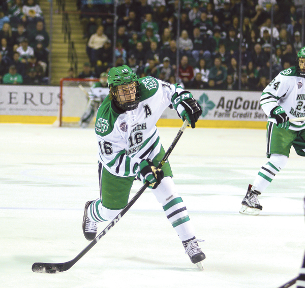 Former UND forward Brock Boeser fires a shot against Omaha earlier this season at the Ralph Engelstad Arena.