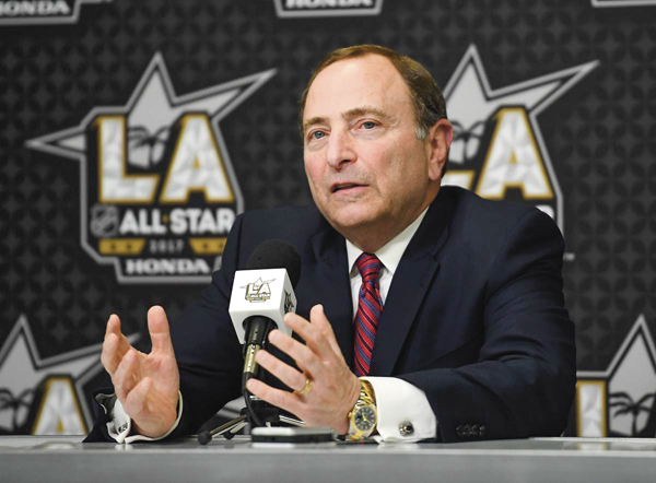 National Hockey League Commissioner Gary Bettman speaks during a news conference at Staples Center, Saturday, Jan. 28, 2017, in Los Angeles. The NHL All-Star Game is scheduled to be played at Staples Center on Sunday. (AP Photo/Mark J. Terrill)