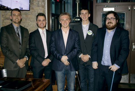 President and vice presidential candidates (from left) Blake Andert, Nico Hanson, Erik Hanson, Cole Bachmeier and David Owen participated in a forum Thursday night at Rhombus Guys Brewery.