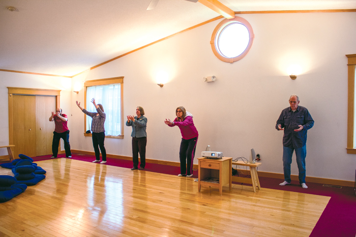 Janet Rex (center) leads a group during a Qi Gong session at the Lotus Meditation Center on Monday, April 24, 2017.