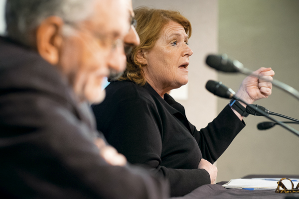 North Dakota Senator Heidi Heitkamp speaks during Friday's 'Kennan Conversation' at Clifford Hall.
