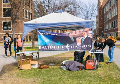 Student presidential candidate team Cole Bachmeier and Erik Hanson had a tent set up behind Chester Fritz Library with laptops for UND students to vote during elections on Wednesday, April 12, 2017.