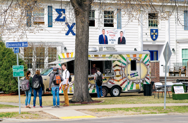 Sigma+Chi+fraternity+was+one+location+on+campus+with+advertisements+for+UND+student+president+candidate+Blake+Andert+on+Wednesday%2C+April+12%2C+2017.