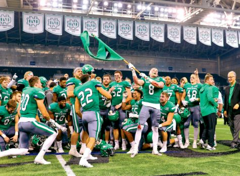 Under head coach Bubba Schweigert, the UND Fighting Hawks football team finished their 2016 season undefeated (8-0) in the Big Sky conference, capturing the conference championship, and 9-2 overall.
