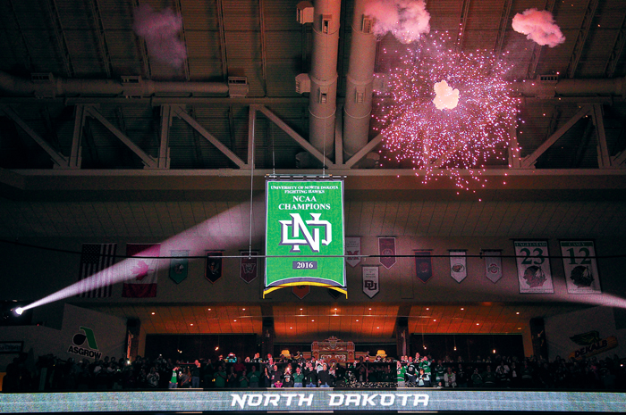 The+UND+men%27s+hockey+team+raised+their+eighth+NCAA+championship+banner+on+Friday%2C+September+30%2C+2016+at+the+Ralph+Engelstad+Arena.
