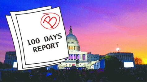 After 100 days in office, writer Liz Kacher gives President Trump a solid B. Illustration by Vitoria Faccin.