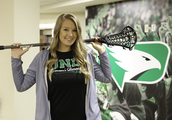 Maddy Floysand, a sophomore pre-med student, has played lacrosse at UND since her freshman year.